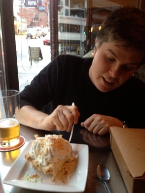 Mmm, coconut pie and beer...
