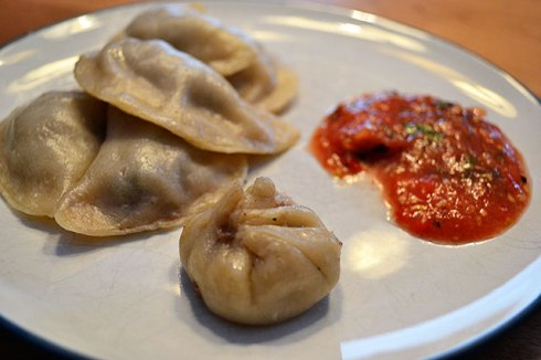 I want dumpkings in tomato sauce!  Spicy lamb dumplings, by River Dog Prints